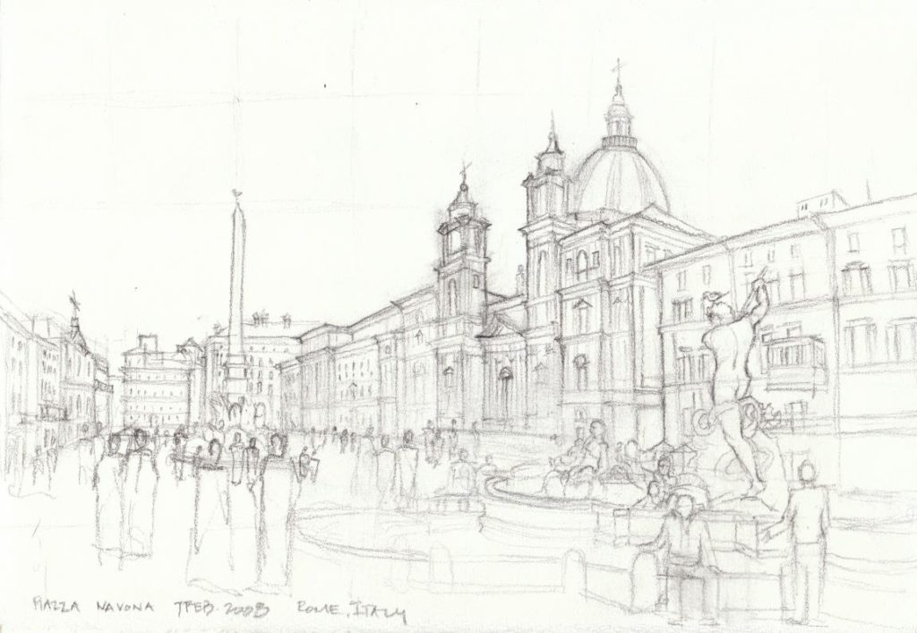 Kalindas Hand Drawing Of Piazza Navona In Rome Italy