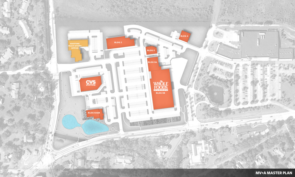 Spring House Village master plan creates internal road network for six separate retail buildings.